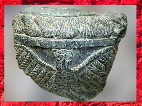 D'après un vase en pierre, chlorite, l'aigle de Ningirsu, Imdugud, vers 2500 2400, temple d'Ishtar, Mari, Tell Hariri, actuelle Syrie, Orient ancien. (Marsailly/Blogostelle)