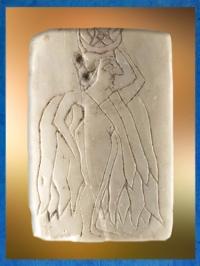 D'après la déesse Ishtar, plaque de coquille gravée, vers 2500 avjc, Mari, Tell Hariri, actuelle Syrie. (Marsailly/Blogostelle)