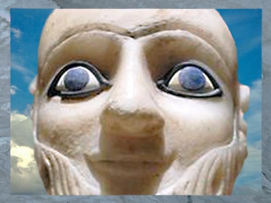 D'après l'intendant Ebih-Il, albâtre et lapis lazuli, vers 2400 avjc, temple d'Ishtar, Mari, Tell Hariri, actuelle Syrie, Orient ancien. (Marsailly/Blogostelle)