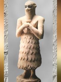 D'après une statue d'orant, Selim, frère du roi, temple d'Ishtar, vers 2500-2300 ans avjc, Mari, Tell Hariri, actuelle Syrie. (Marsailly/Blogostelle)
