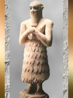 D'après une statue d'orant, Selim, frère du roi, temple d'Ishtar, vers 2500-2300 ans avjc, Mari, Tell Hariri, actuelle Syrie, Orient ancien. (Marsailly/Blogostelle)