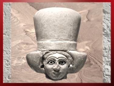 D'après une tête féminine coiffée du polos, vers 2500-2300 avjc, Mari, Tell Hariri, actuelle Syrie, Orient ancien. (Marsailly/Blogostelle)