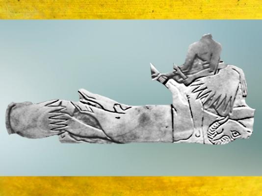 D'après une scène de sacrifice d'un bélier, coquille non nacrée, temple de Shamash, Mari, IIe millénaire avjc, Tell Hariri, actuelle Syrie, Orient ancien. (Marsailly/Blogostelle)