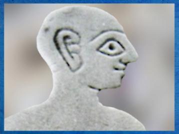 D'après le visage d'un orant, détail, coquille, palais de Mari, vers 2500-2300 ans avjc, Mari, Tell Hariri, actuelle Syrie, Orient ancien. (Marsailly/Blogostelle)