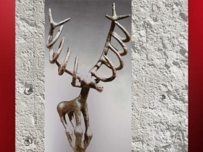 D'après un cerf en bronze, tombes royales d'Alaça Hûyûk, vers 2300 avjc, Anatolie, actuelle Turquie. (Marsailly/Blogostelle)