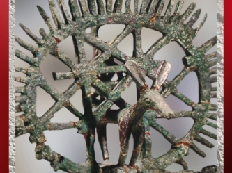 D'après un étendart en bronze, tombes d'Alaça Hûyûk, vers 2350 avjc, Anatolie, Turquie. (Marsailly/Blogostelle)
