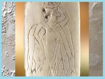 D'après la déesse Ishtar, plaque de coquille gravée, vers 2500 avjc, Mari, Tell Hariri,actuelle Syrie, Orient ancien. (Marsailly/Blogostelle)