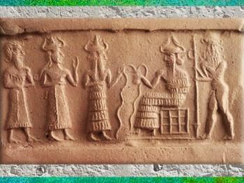 D'après le dieu des Flots Ea et son acolyte Ushmu, scène de présentation d'un fidèle, empreinte de sceau-cylindre, vers 2200 avjc, fin époque d'Agadé, Mésopotamie. (Marsailly/Blogostelle)