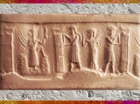 D'après le dieu Soleil qui sort de la Montagne, et l'ouverture du temple, empreinte de sceau, vers 2340 avjc - 2200 avjc, dynastie d'Akkad, période d'Agadé, Mésopotamie. (Marsailly/Blogostelle)