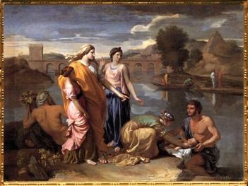 D'après Moïse Sauvé des Eaux, Nicolas Poussin, 1638 apjc, XVIIe siècle, France. (Marsailly/Blogostelle)