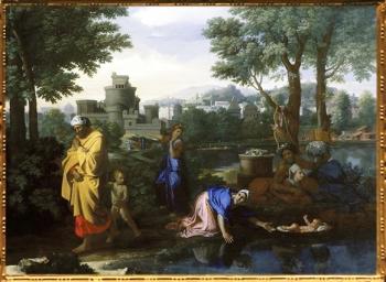 D'après Moise Exposé sur les Eaux, Nicolas Poussin, 1654 apjc, XVIIe siècle, France. (Marsailly/Blogostelle)