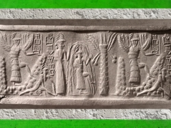 D'après le sceau du scribe Zagganita, déités guerrières ailées, le dieu des Eaux Douces et de la Sagesse Ea, vers 2340 avjc - 2200 avjc, époque d'Agadé, Mésopotamie. (Marsailly/Blogostelle)