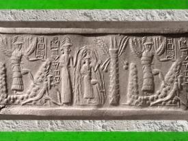 D'après le sceau du scribe Zagganita, Ea et déités célestes guerrières, vers 2340 avjc - 2200 avjc, Agadé. (Marsailly-Blogostelle)
