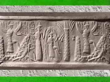 D'après le sceau du scribe Zagganita, déités guerrières ailées, le dieu des Eaux Douces et de la Sagesse Ea, vers 2340 avjc - 2200 avjc, dynastie d'Akkad, époque d'Agadé, Mésopotamie. (Marsailly/Blogostelle)