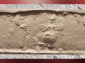 D'après la déesse aux épis aspect guerrier attributs lion et étoile, vers 2350 - 2200 avjc, Agadé. (Marsailly/Blogostelle)