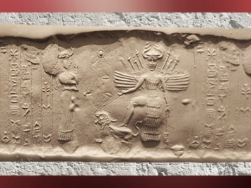 D'après la grande déesse aux Épis sous son aspect guerrier (Inanna-Ishtar), attributs Lion et Étoile, vers 2340 avjc - 2200 avjc, dynastie d'Akkad, époque d'Agadé, Mésopotamie. (Marsailly/Blogostelle)
