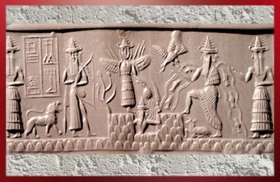 D'après le sceau du scribe Adda, le dieu Soleil émerge de la Montagne, vers 2300 avjc, époque d'Agadé, actuel Irak, Mésopotamie. (Marsailly/Blogostelle)