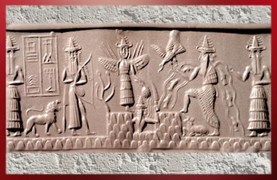 D'après le sceau du scribe Adda, le dieu Soleil émerge de la Montagne, vers 2300 avjc, dynastie d'Akkad, époque d'Agadé, Mésopotamie. (Marsailly/Blogostelle
