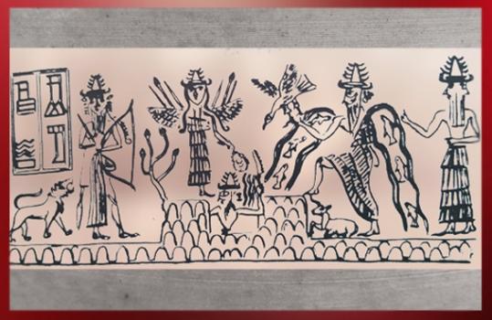 D'après le sceau du scribe Adda, le dieu Soleil émerge de la Montagne, vers 2300 avjc, dynastie d'Akkad, époque d'Agadé, Mésopotamie. (Marsailly/Blogostelle)