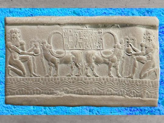 D'après le sceau du roi de Sharkalisharri, des buffles sont abreuvés vers 2340 avjc - 2200 avjc, période d'Agadé, Mésopotamie. (Marsailly/Blogostelle)