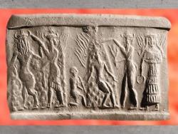 D'après la Victoire de Nergal et de Gibil, le Feu, armés de flammes et de flambeaux, vers 2350 - 2200 avjc, période d'Agadé, actuel Irak, Mésopotamie. (Marsailly/Blogostelle)