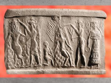 D'après la Victoire de Nergal, Soleil brûlant, et de Gibil, le Feu, armés de flammes et de flambeaux, vers 2350 - 2200 avjc, dynastie d'Akkad, période d'Agadé, actuel Irak, Mésopotamie. (Marsailly/Blogostelle)