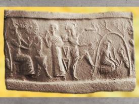 D'après Nergal et un jeune dieu au rameau, vers 2340 avjc - 2200 avjc, période Agadé, antique Girsu, Tello, actuel Irak, Mésopotamie. (Marsailly/Blogostelle