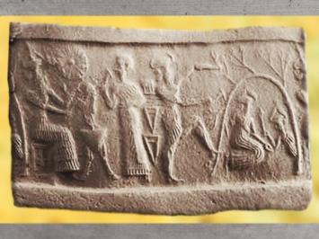 D'après Nergal trônant et un jeune dieu au rameau, vers 2340 avjc - 2200 avjc, dynastie d'Akkad, période Agadé, antique Girsu-Tello, actuel Irak, Mésopotamie. (Marsailly/Blogostelle)
