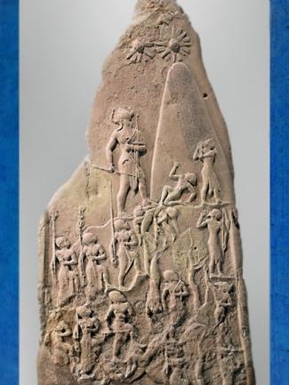 D'après la stèle de Victoire de Narâm-Sîn, grès, vers 2230 avjc, dynastie d'Akkad, époque d'Agadé, butin de Suse, Mésopotamie. (Marsailly/Blogostelle)