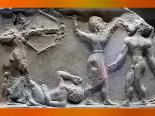 D'après une stèle de Victoire, détail des anatomies, vers 2300-2250 avjc,antique Girsu-Tello, actuel Irak, Mésopotamie. (Marsailly/Blogostelle)