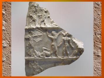 D'après une stèle de Victoire, vers 2300-2250 avjc, antique Girsu-Tello, actuel Irak, Mésopotamie. (Marsailly/Blogostelle)