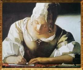 D'après La Dame Écrivant une Lettre et sa servante, détail, Johannes Vermeer, 1670, tableau signé IVMeer. (Marsailly/Blogostelle)