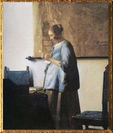 D'après La Femme en Bleu Lisant une Lettre, Johannes Vermeer, 1663-1664. (Marsailly/Blogostelle)