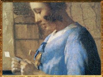 D'après La Femme en Bleu Lisant une Lettre, détail, Johannes Vermeer, 1663-1664. (Marsailly/Blogostelle)