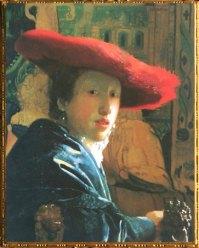 D'après La Jeune Femme au Chapeau Rouge, Johannes Vermeer, vers 1665, IVM. (Marsailly/Blogostelle)