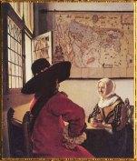 D'après L'Officier et la Jeune Femme Riant, Johannes Vermeer, vers 1658 apjc. (Marsailly/Blogostelle)