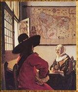 D'après L'Officier et la Jeune Femme Riant, Johannes Vermeer, vers 1658. (Marsailly/Blogostelle)