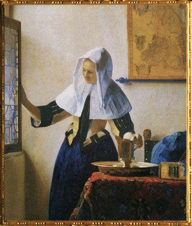 D'après La Jeune Femme à l'Aiguière, Johannes Vermeer, 1664-1665. (Marsailly/Blogostelle)