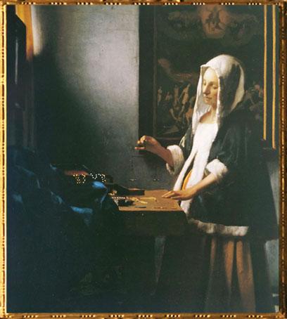 D'après La Jeune Femme à la Balance, Johannes Vermeer, 1664 apjc. (Marsailly/Blogostelle)