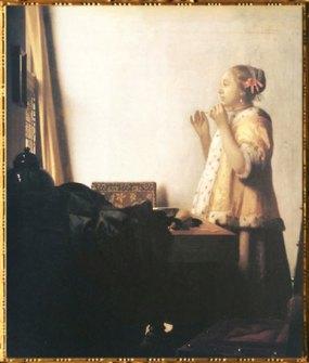 D'après La Jeune Femme au Collier de Perles, Johannes Vermeer, 1664 apjc. (Marsailly/Blogostelle)