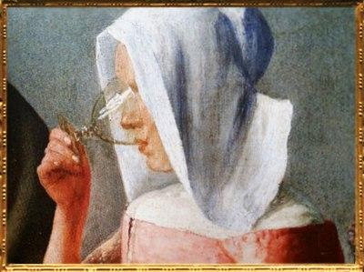 D'après Le Verre de Vin, détail, Johannes Vermeer, 1660-1661 apjc. (Marsailly/Blogostelle)