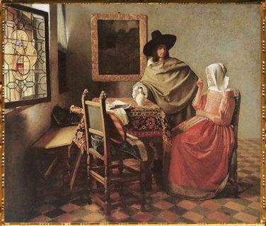 D'après Le Verre de Vin, Johannes Vermeer, 1660-1661 apjc. (Marsailly/Blogostelle)