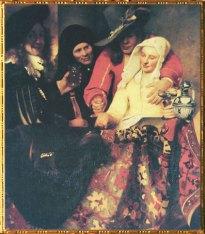 D'après L'Entremetteuse, Johannes Vermeer, 1656, datée et signée. (Marsailly-Blogostelle)