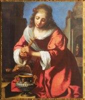 D'après Sainte Praxède, Johannes Vermeer, 1655, inscription Meer 1655 et Meer N R... (Marsailly/Blogostelle)