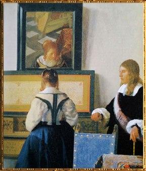 D'après la Dame au Virginal, détail, Johannes Vermeer, 1662-1664, IVMeer, leçon de Musique. (Marsailly/Blogostelle)
