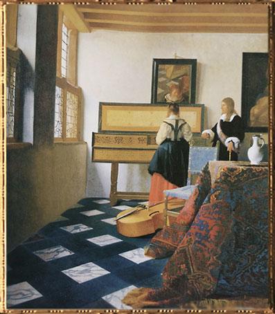 D'après la Dame au Virginal, Johannes Vermeer, 1662-1664, IVMeer, Leçon de Musique. (Marsailly/Blogostelle)
