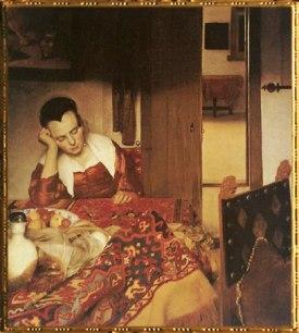 D'après Une Jeune Femme Assoupie, Johannes Vermeer, 1657. (Marsailly/Blogostelle)