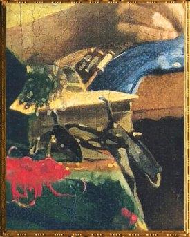 D'après La Dentellière, détail des touches, Johannes Vermeer, 1669-1670, IVMeer. (Marsailly/Blogostelle)