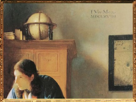 D'après Le Géographe, détail, signature IVMeer, Johannes Vermeer, 1668-1669. (Marsailly/Blogostelle)