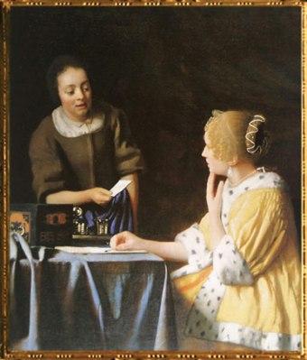 D'après La Maîtresse et la Servante, Johannes Vermeer, 1667. (Marsailly/Blogostelle)